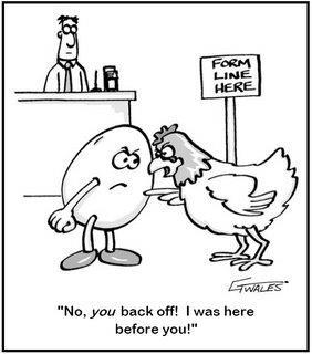 Hvør kom fyrst, hønan ella eggið?